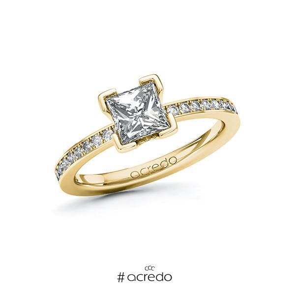 Verlobungsring in Gelbgold 585 mit 1 ct. + zus. 0,2 ct. Prinzess-Diamant tw, vs tw, si von acredo