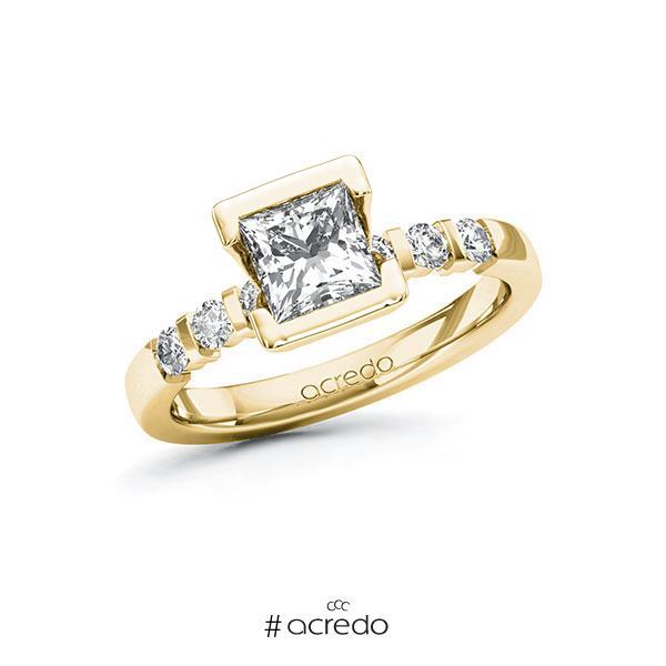 Verlobungsring in Gelbgold 585 mit 1 ct. + zus. 0,3 ct. Prinzess-Diamant tw, vs tw, si von acredo