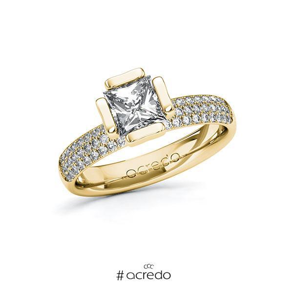 Verlobungsring in Gelbgold 585 mit 1 ct. + zus. 0,432 ct. Prinzess-Diamant tw, vs tw, si von acredo