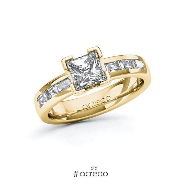 Verlobungsring in Gelbgold 585 mit 1 ct. + zus. 0,48 ct. Prinzess-Diamant tw, vs von acredo