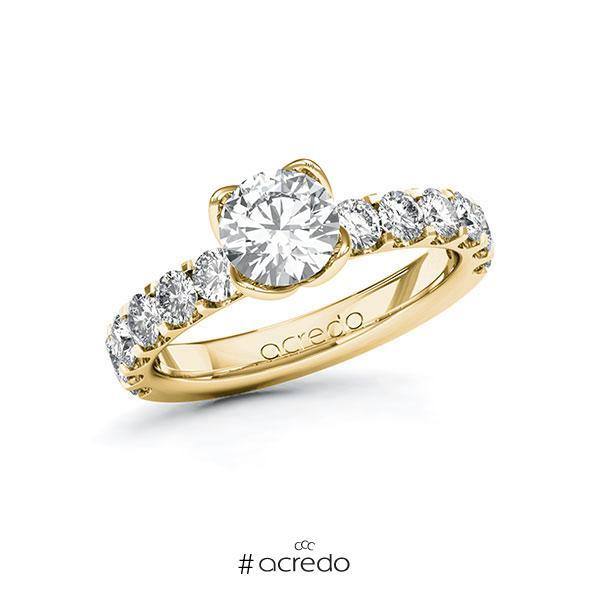 Verlobungsring in Gelbgold 585 mit 1 ct. + zus. 1,08 ct. Brillant tw, si von acredo