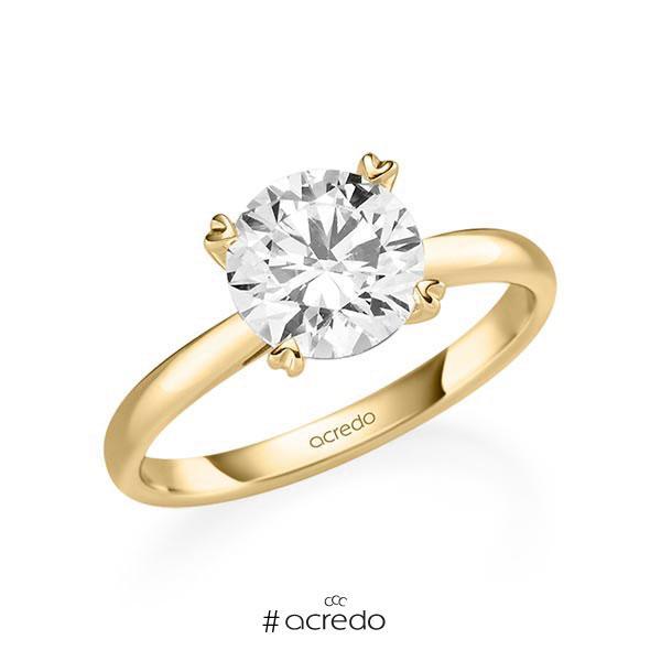 Verlobungsring in Gelbgold 585 mit 2 ct. Brillant tw, si von acredo