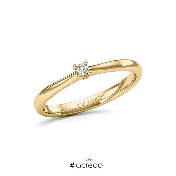 Verlobungsring in Gelbgold 585 mit zus. 0,05 ct. Brillant tw, si von acredo