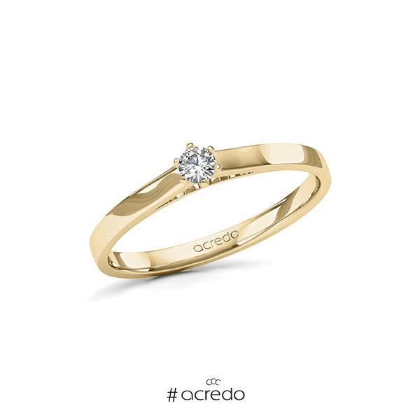 Verlobungsring in Gelbgold 585 mit zus. 0,12 ct. Brillant tw, si von acredo
