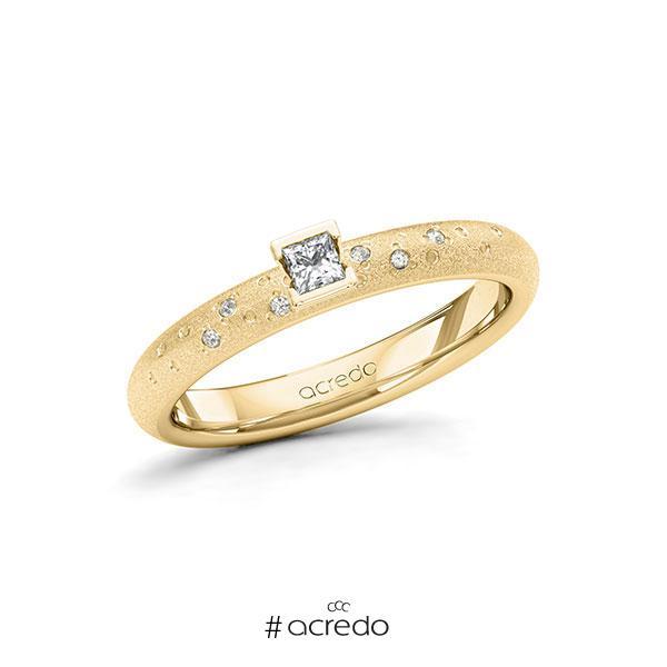 Verlobungsring in Gelbgold 585 mit zus. 0,13 ct. Prinzess-Diamant tw, si von acredo