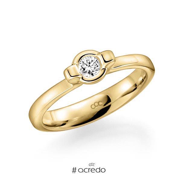 Verlobungsring in Gelbgold 585 mit zus. 0,15 ct. Brillant tw, vs von acredo