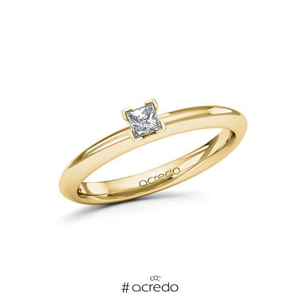 Verlobungsring in Gelbgold 585 mit zus. 0,15 ct. Prinzess-Diamant tw, si von acredo