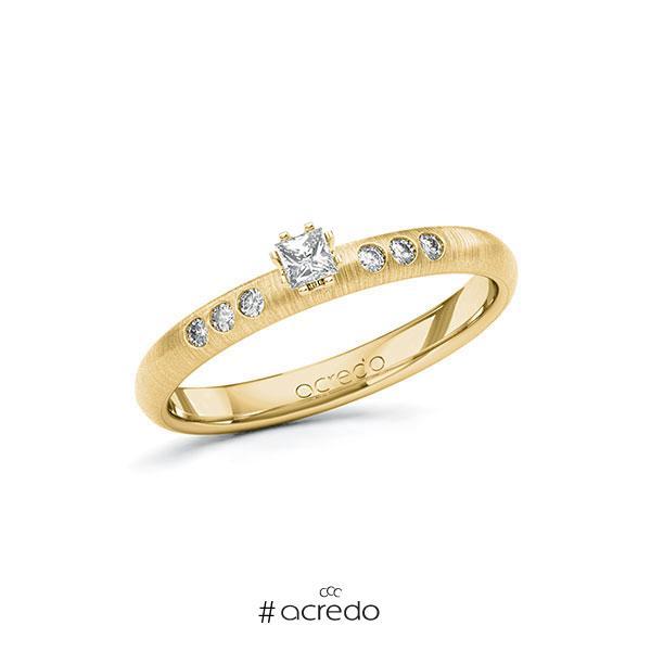Verlobungsring in Gelbgold 585 mit zus. 0,16 ct. Prinzess-Diamant tw, si von acredo