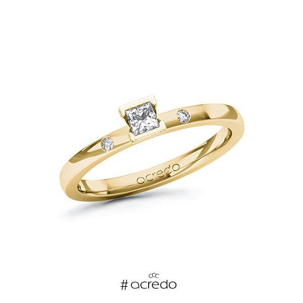 Verlobungsring in Gelbgold 585 mit zus. 0,17 ct. Prinzess-Diamant tw, si von acredo