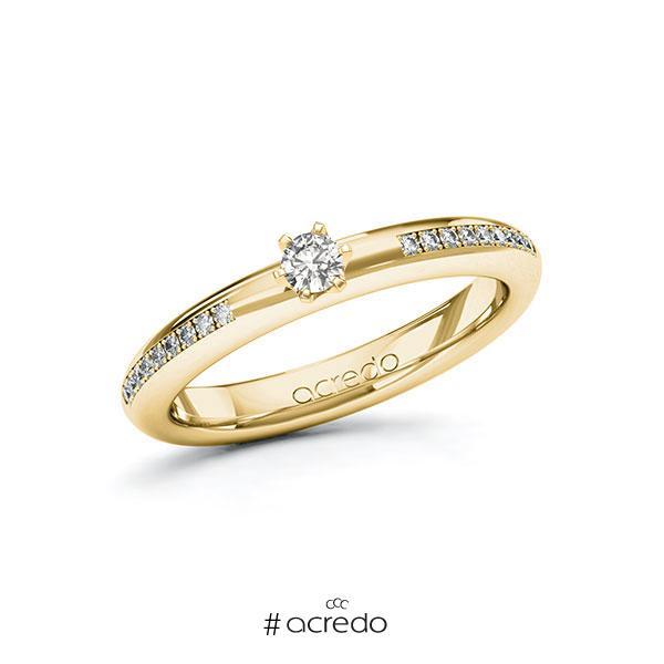 Verlobungsring in Gelbgold 585 mit zus. 0,19 ct. tw, si von acredo