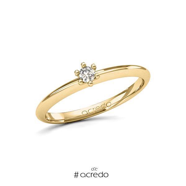 Verlobungsring in Gelbgold 585 mit zus. 0,1 ct. Brillant tw, si von acredo