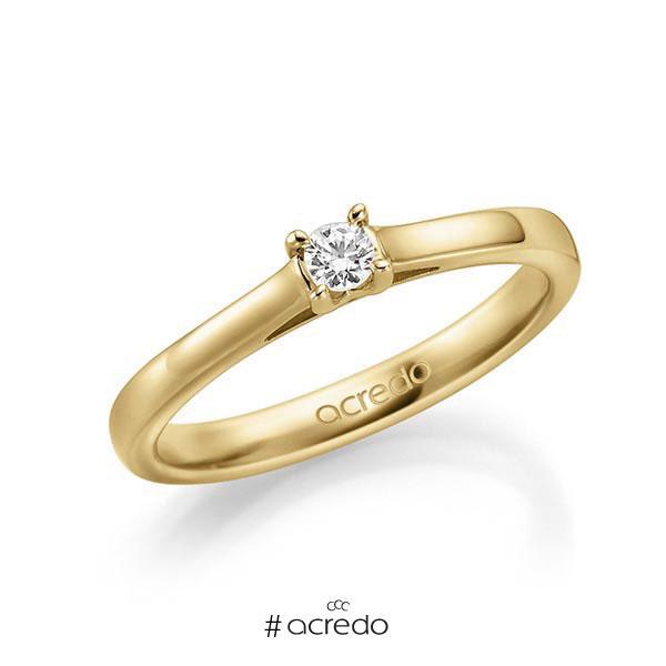 Verlobungsring in Gelbgold 585 mit zus. 0,1 ct. Brillant tw, vs von acredo