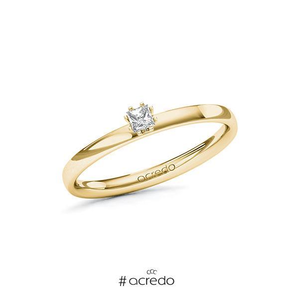 Verlobungsring in Gelbgold 585 mit zus. 0,1 ct. Prinzess-Diamant tw, vs von acredo