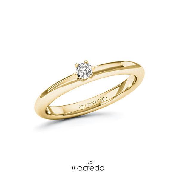 Verlobungsring in Gelbgold 585 mit zus. 0,1 ct. tw, si von acredo