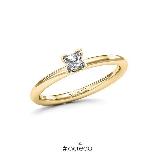 Verlobungsring in Gelbgold 585 mit zus. 0,25 ct. Prinzess-Diamant tw, si von acredo