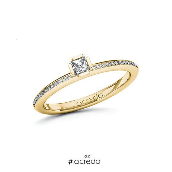 Verlobungsring in Gelbgold 585 mit zus. 0,28 ct. Prinzess-Diamant tw, si von acredo