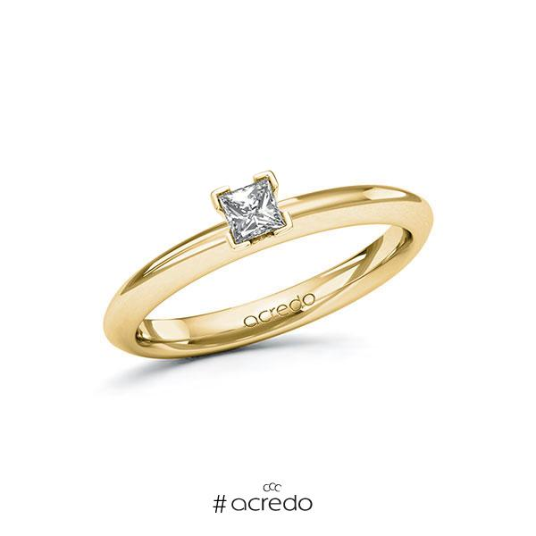 Verlobungsring in Gelbgold 585 mit zus. 0,2 ct. Prinzess-Diamant tw, si von acredo