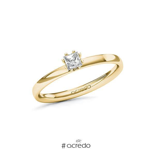 Verlobungsring in Gelbgold 585 mit zus. 0,2 ct. Prinzess-Diamant tw, vs von acredo