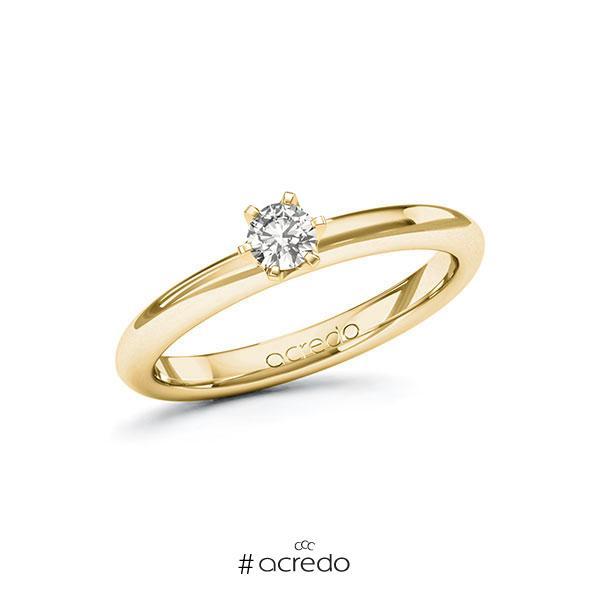 Verlobungsring in Gelbgold 585 mit zus. 0,2 ct. tw, si von acredo