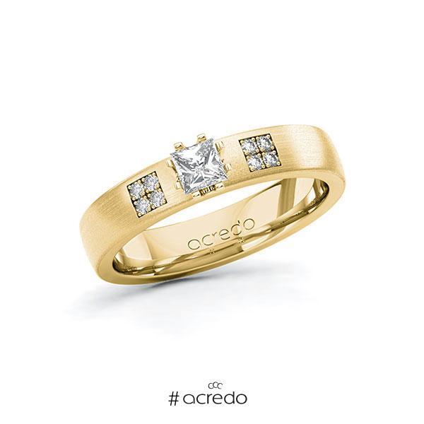 Verlobungsring in Gelbgold 585 mit zus. 0,314 ct. Prinzess-Diamant tw, si von acredo