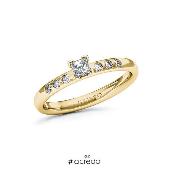 Verlobungsring in Gelbgold 585 mit zus. 0,32 ct. Prinzess-Diamant tw, vs tw, si von acredo