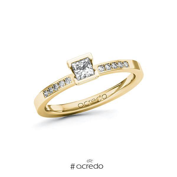 Verlobungsring in Gelbgold 585 mit zus. 0,33 ct. Prinzess-Diamant tw, si von acredo