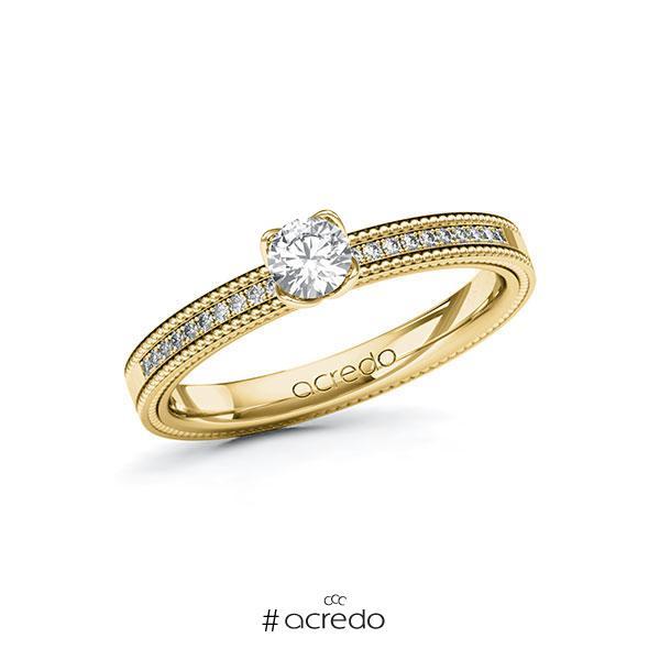 Verlobungsring in Gelbgold 585 mit zus. 0,35 ct. Brillant tw, si von acredo