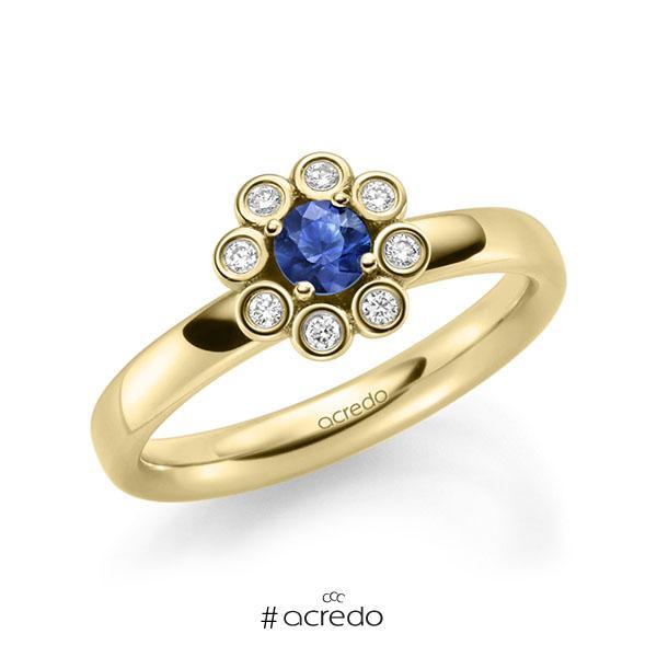 Verlobungsring in Gelbgold 585 mit zus. 0,37 ct. Brillant Saphir Blau (A 10) tw, si von acredo