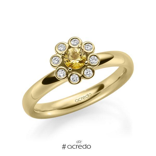 Verlobungsring in Gelbgold 585 mit zus. 0,37 ct. Brillant Saphir Gelb (A 8) tw, si von acredo