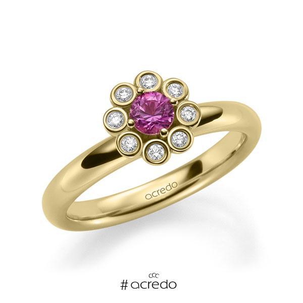 Verlobungsring in Gelbgold 585 mit zus. 0,37 ct. Brillant Saphir Pink (A 10) tw, si von acredo