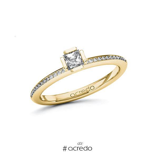 Verlobungsring in Gelbgold 585 mit zus. 0,38 ct. Prinzess-Diamant tw, si von acredo