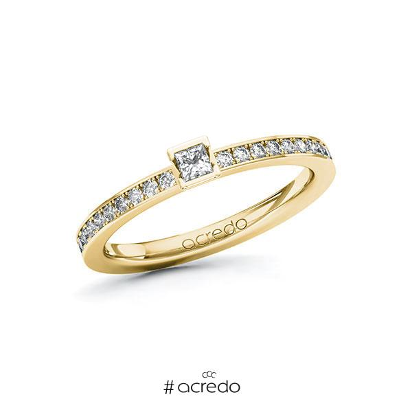 Verlobungsring in Gelbgold 585 mit zus. 0,3 ct. Prinzess-Diamant tw, si von acredo