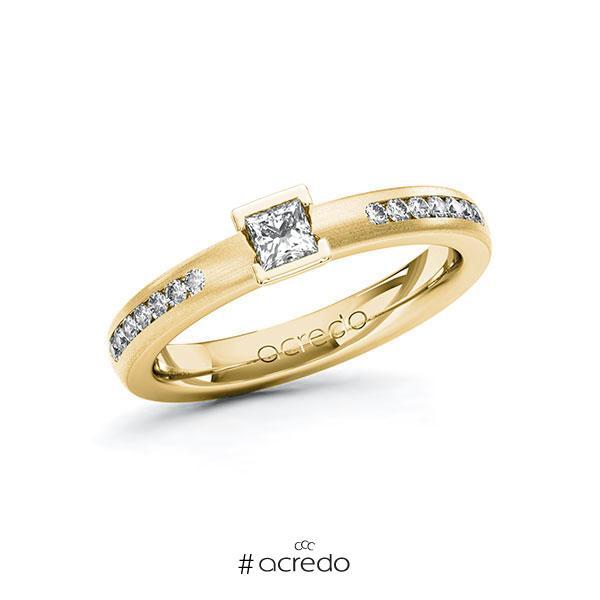 Verlobungsring in Gelbgold 585 mit zus. 0,41 ct. Prinzess-Diamant tw, si von acredo
