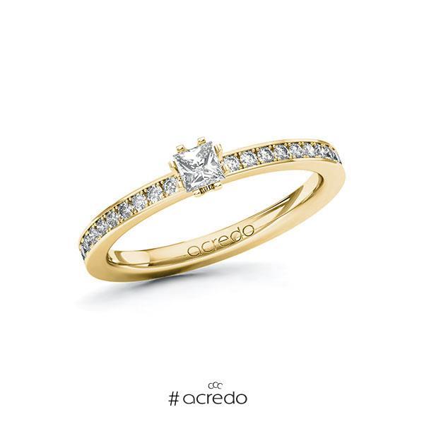 Verlobungsring in Gelbgold 585 mit zus. 0,4 ct. Prinzess-Diamant tw, si von acredo