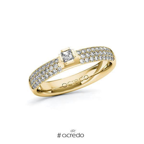 Verlobungsring in Gelbgold 585 mit zus. 0,532 ct. Prinzess-Diamant tw, si von acredo