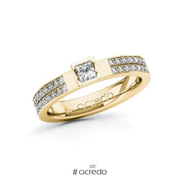 Verlobungsring in Gelbgold 585 mit zus. 0,56 ct. Prinzess-Diamant tw, si von acredo