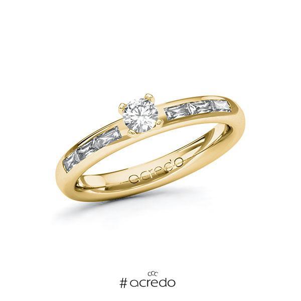 Verlobungsring in Gelbgold 585 mit zus. 0,5 ct. Brillant tw, vs von acredo
