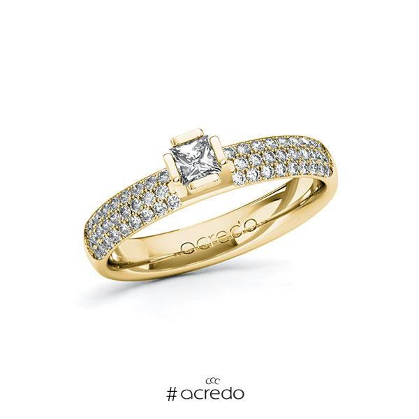 Verlobungsring in Gelbgold 585 mit zus. 0,632 ct. Prinzess-Diamant tw, si von acredo