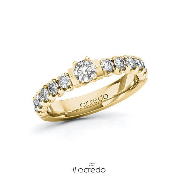 Verlobungsring in Gelbgold 585 mit zus. 0,85 ct. tw, si von acredo
