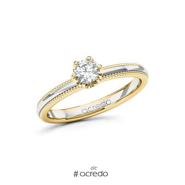 Verlobungsring in Gelbgold 585 Weißgold 585 mit 0,3 ct. Brillant tw, si von acredo