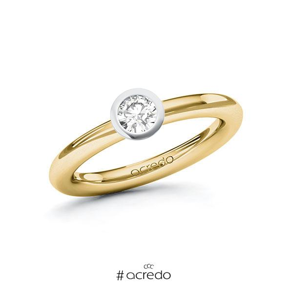 Verlobungsring in Gelbgold 585 Weißgold 585 mit 0,3 ct. Brillant tw, vs von acredo