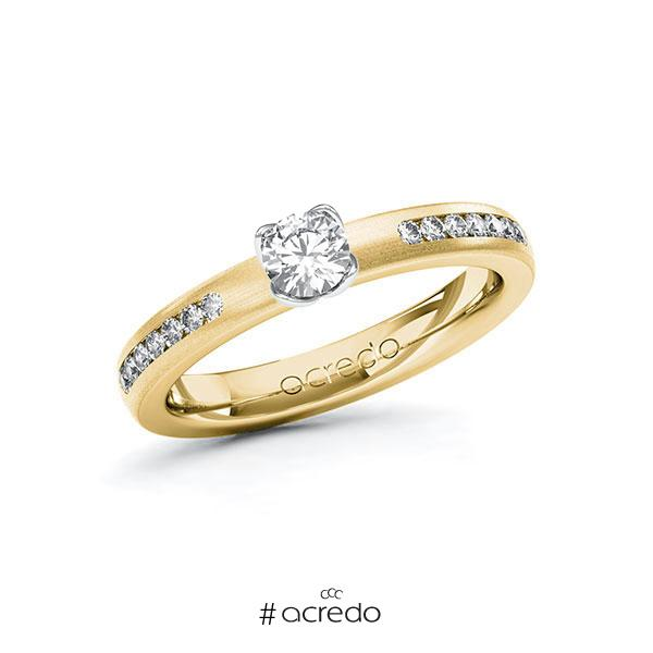 Verlobungsring in Gelbgold 585 Weißgold 585 mit 0,3 ct. + zus. 0,21 ct. Brillant tw, si von acredo