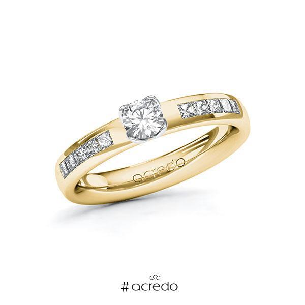 Verlobungsring in Gelbgold 585 Weißgold 585 mit 0,3 ct. + zus. 0,3 ct. Brillant tw, si von acredo