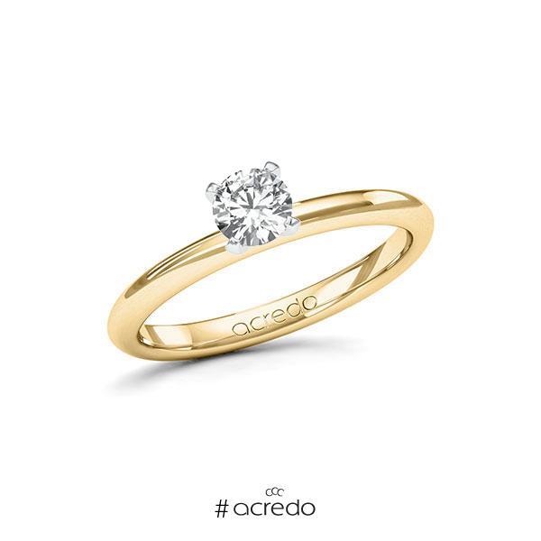 Verlobungsring in Gelbgold 585 Weißgold 585 mit 0,4 ct. Brillant tw, si von acredo