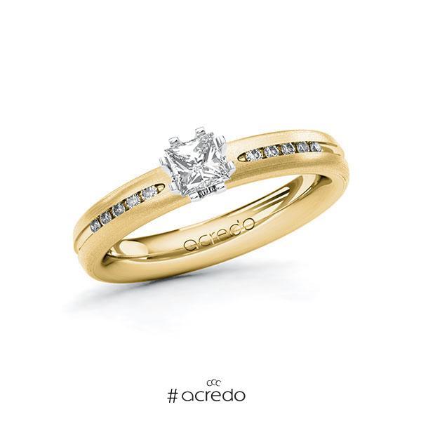 Verlobungsring in Gelbgold 585 Weißgold 585 mit 0,4 ct. + zus. 0,08 ct. Prinzess-Diamant tw, vs tw, si von acredo
