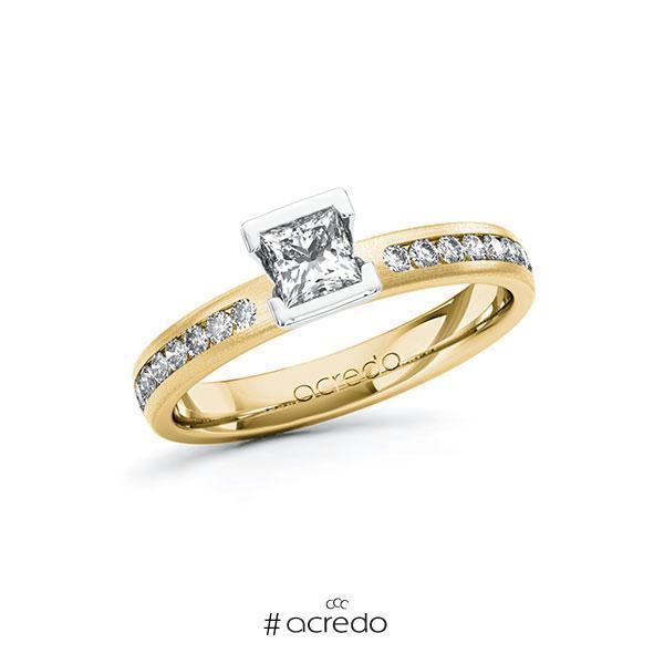 Verlobungsring in Gelbgold 585 Weißgold 585 mit 0,4 ct. + zus. 0,24 ct. Prinzess-Diamant tw, vs tw, si von acredo