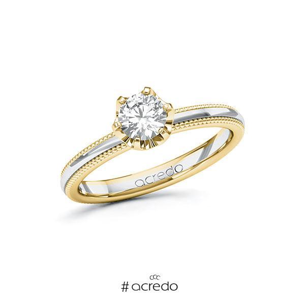 Verlobungsring in Gelbgold 585 Weißgold 585 mit 0,5 ct. Brillant tw, si von acredo
