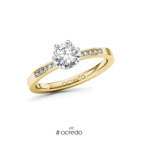 Verlobungsring in Gelbgold 585 Weißgold 585 mit 0,5 ct. + zus. 0,08 ct. Brillant tw, si von acredo