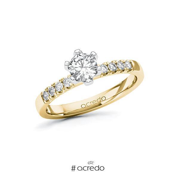 Verlobungsring in Gelbgold 585 Weißgold 585 mit 0,5 ct. + zus. 0,16 ct. Brillant tw, si von acredo