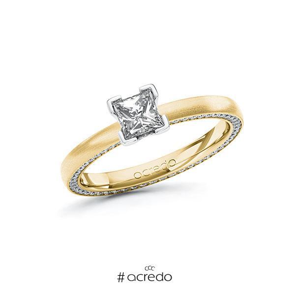Verlobungsring in Gelbgold 585 Weißgold 585 mit 0,5 ct. + zus. 0,29 ct. Prinzess-Diamant tw, vs tw, si von acredo